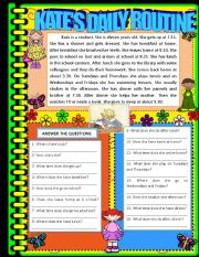 English Worksheet: KATE�S DAILY ROUTINE (READING AND COMPREHENSION)
