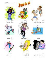 English worksheet: I Can Do It!