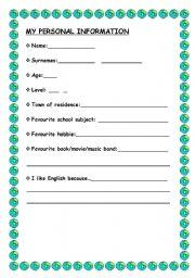 Personal information worksheets english worksheet my personal information ibookread ePUb