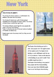English Worksheet: new york empire state building and statue of liberty