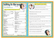 Songs4Class: Talking to the moon (Bruno Mraz) – listening • comprehension • writing • keys • 2 pages • editable