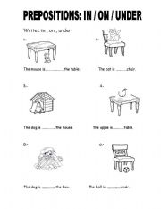 English Worksheet: PREPOSITIONS: IN / ON / UNDER