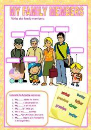 English Worksheet: MY FAMILY MEMBERS