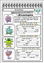 English Worksheet: MONSTER BODY PARTS