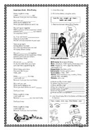 English Worksheets: Song: Elvis Presley - Suspicious Minds