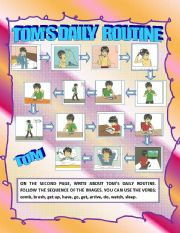 English Worksheets: TOM�S DAILY ROUTINE (WRITING)