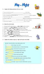 English Worksheet: might - may