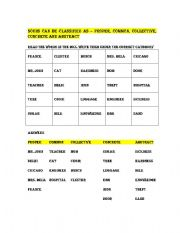 English Worksheets: Type of nouns
