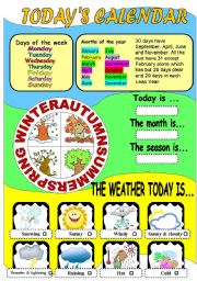 English Worksheet: Today´s calendar
