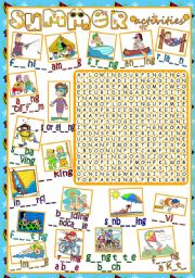 Summer activities - WORDSEARCH