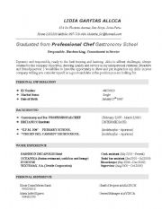 worksheet: example of a Resume or CV
