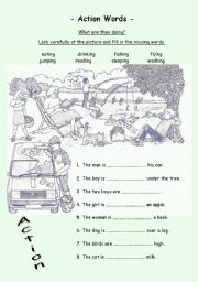 English Worksheets: Action Words ending -ing