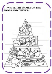 English Worksheet: FOODS AND DRINKS