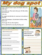 English Worksheets: my dog spot