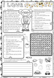 English Worksheet: I love summer - reading *4 tasks*