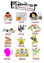 English Worksheets: Clasroom Actions