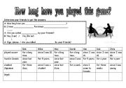 English Worksheet: How long have you played this game?