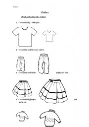 Read and colour the clothes