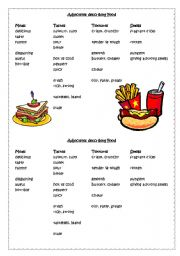 Adjectives describing Food: Meals/ Tastes/ Textures/ Smells