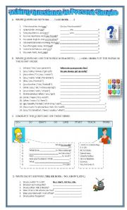 English Worksheets: asking questions in Prsent Simple