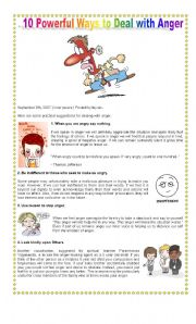 English Worksheets: 10 Powerful Ways to Deal with Anger