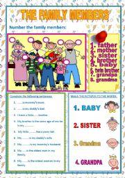 English Worksheet: THE FAMILY MEMBERS