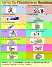 English Worksheets: For vs so and because vs therefore
