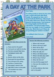 English Worksheet: A DAY AT THE PARK
