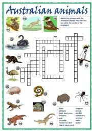 Australian animals crossword
