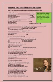 English Worksheets: Because you loved me