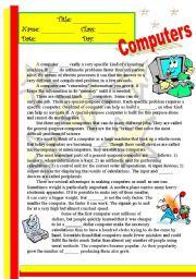 English Worksheet: Computers