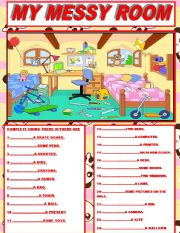 English Worksheet: MY MESSY ROOM/ THERE IS&THERE ARE