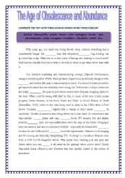 English Worksheet:  A THROW AWAY WORLD / RECYCLING