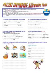 Present Continuous( Be+V-ing) Affirmative Form. Lesson + exercises