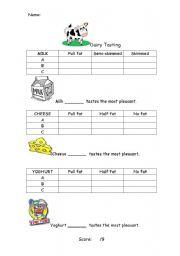English Worksheets: Dairy Tasting Worksheet