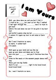 English Worksheets: Jason Mraz -I�m yours