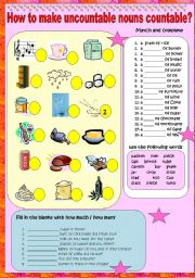 English Worksheets: How to make uncountable nouns countable?