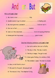 English Worksheets: Joining sentences using And or But