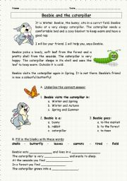 English Worksheets: Beebie and the caterpillar