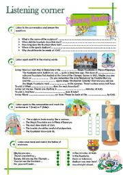 English Worksheet: Listening corner - Sightseeing Barcelona (4 exercises**answer key**tapescripts)