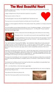 English Worksheets: The Most Beautiful Heart