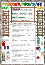 English Worksheet: Personal pronouns *B&W included*