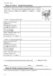 English Worksheets: Show & Tell worksheets for Japanese EFL learners