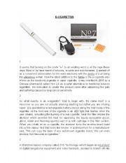 English Worksheet: Electronic Cigarettes Comprehension Passage with Questions