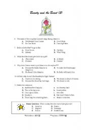 English Worksheet: Beauty and the Beast worksheet - part 2 of 2