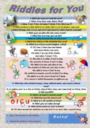 English Worksheet: Riddles for You