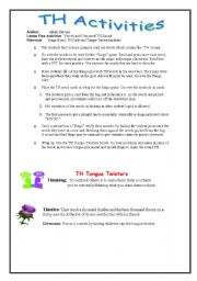 English Worksheets: How To  Teach The TH Sound (UPDATED 7-03-2011) Part 2-Activities