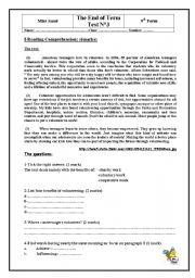 English Worksheet: READING COMPREHANSION ABOUT VOLUNTEERING