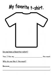 English Worksheets: My Favorite T-shirt.