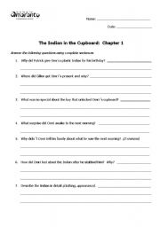 English Worksheets: The Indian in the Cupboard comprehension questions
